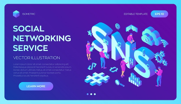 Sns. social networking service. 3d isometric  with icons and characters. Premium Vector