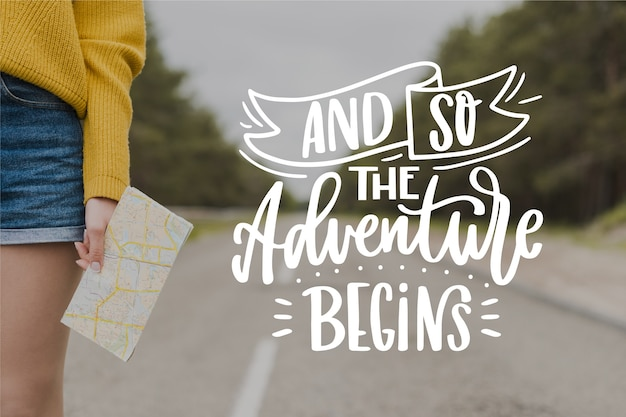 And so the adventure begins lettering Free Vector