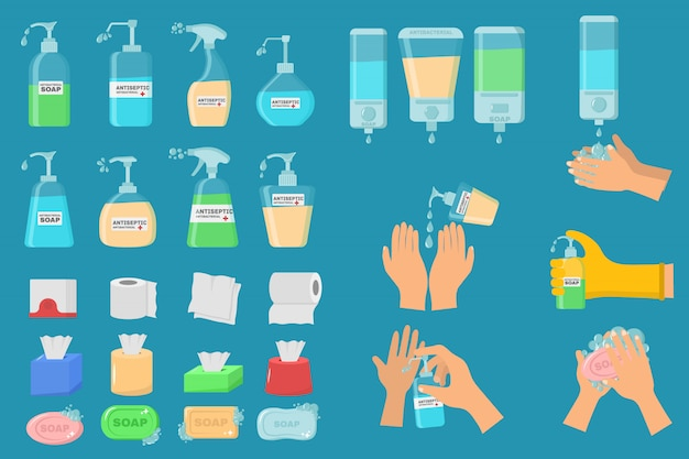 Soap, antiseptic gel and other hygienic products. antiseptic spray in flask kills bacteria. hygiene icons set. antibacterial concept. alcohol liquid, pump spray bottle. Premium Vector