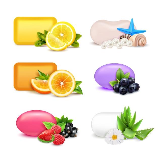 Набор ароматов для мыла Бесплатные векторы