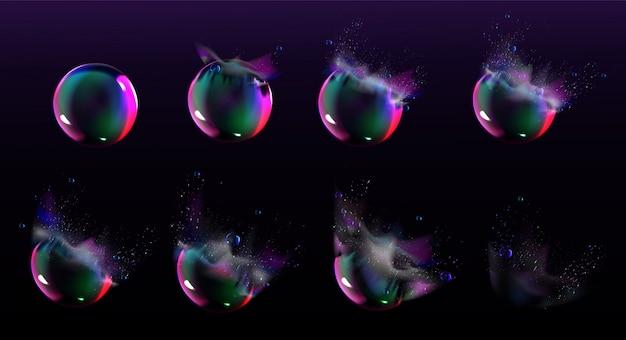 Bolle di sapone scoppiano sprite per gioco o animazione Vettore gratuito