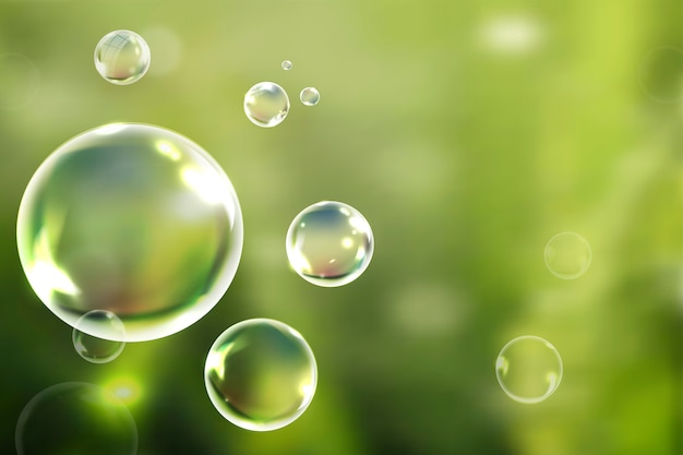 Soap bubbles floating in the green background vector Free Vector