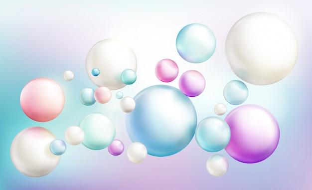 Мыльные пузыри или непрозрачные разноцветные глянцевые сферы беспорядочно летят по расфокусированным цветам радуги. Бесплатные векторы