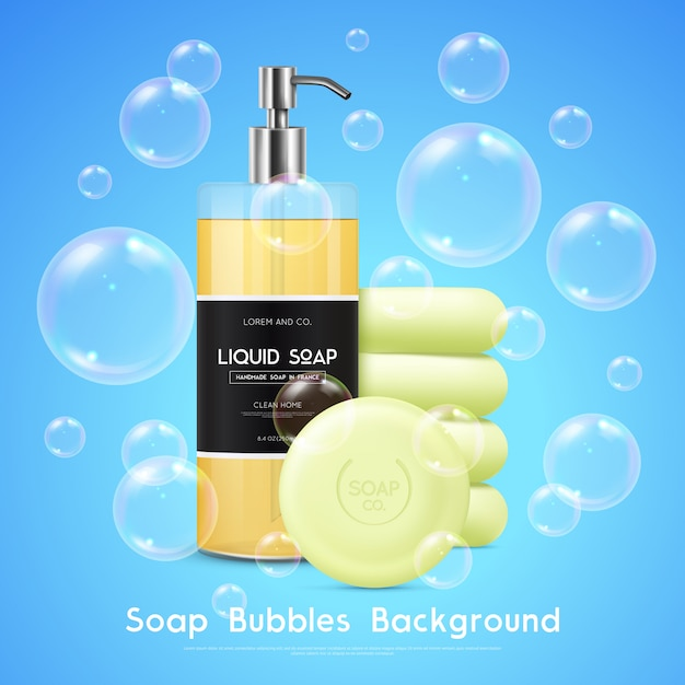 Soap bubbles realistic background poster Free Vector