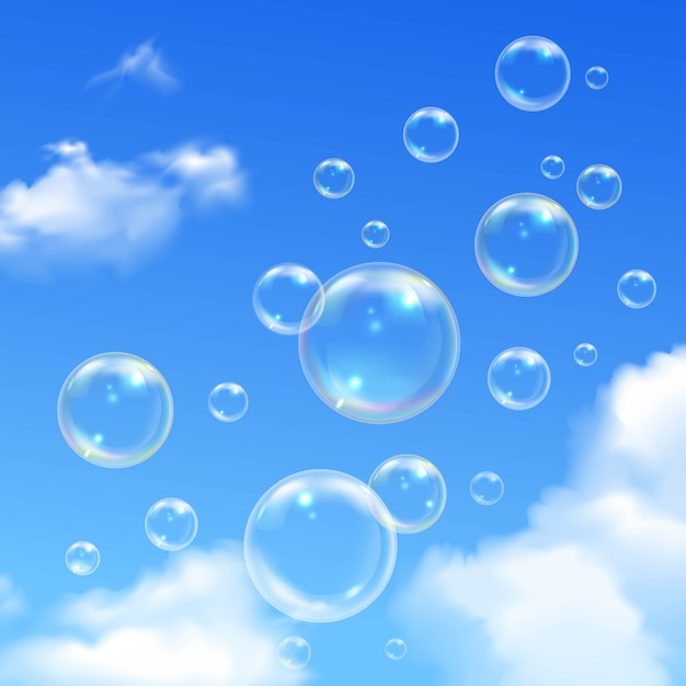 Soap bubbles soaring outdoor on sunny summer day Free Vector