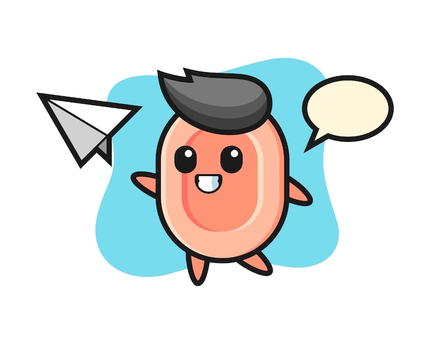 Soap cartoon character throwing paper airplane, cute style  for t shirt, sticker, logo element Premium Vector