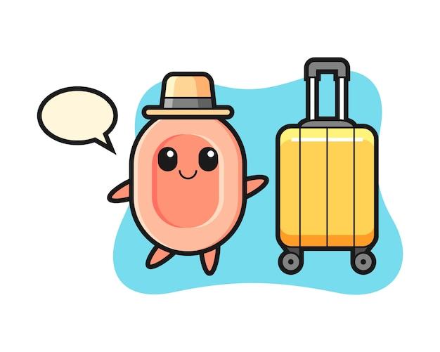 休暇、tシャツ、ステッカー、ロゴの要素のかわいいスタイルの荷物と石鹸漫画イラスト Premiumベクター