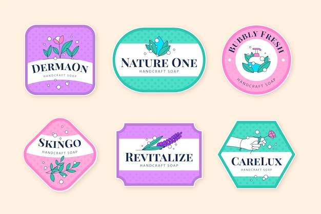 Soap label collection template Free Vector
