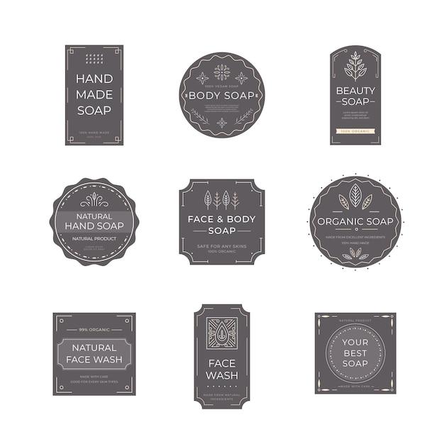 Collezione di etichette di sapone Vettore gratuito