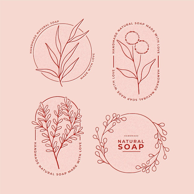 Soap label set Premium Vector