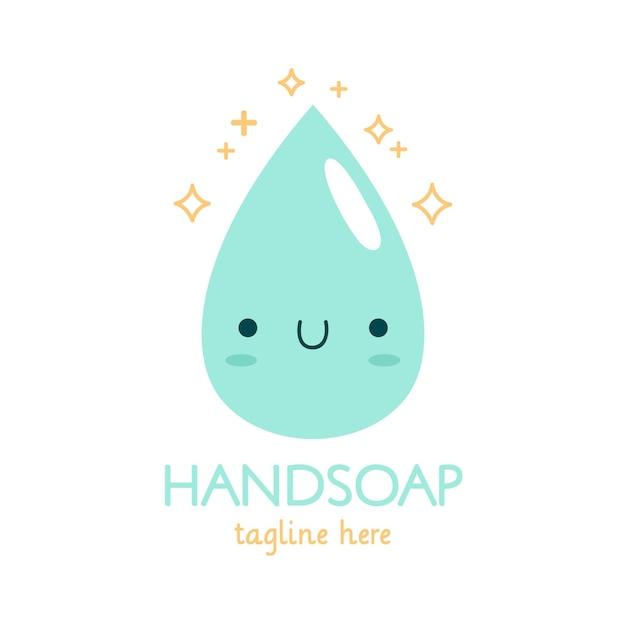 水滴と石鹸のロゴのテンプレート Premiumベクター