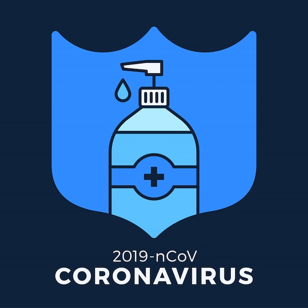 Мыло или дезинфицирующее средство гель и щит с использованием антибактериальных, значок вируса, гигиены, медицинской иллюстрации. защита от коронавируса ковид-19 Premium векторы