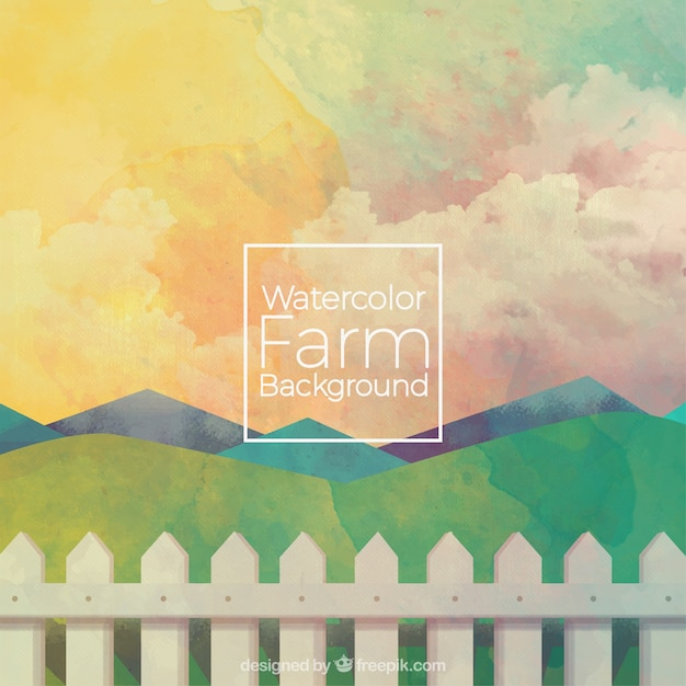 Sober watercolor farm background Free Vector