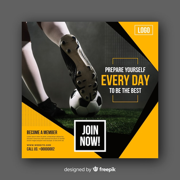 Soccer athlete banner with photo Free Vector