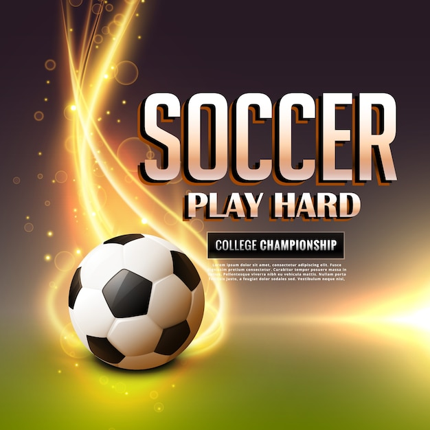 Soccer background with flame Free Vector