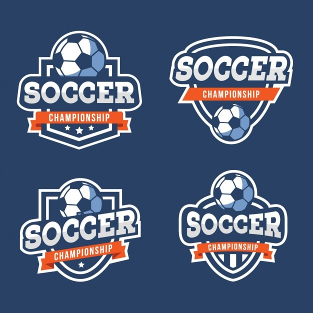 Soccer badges collection Free Vector