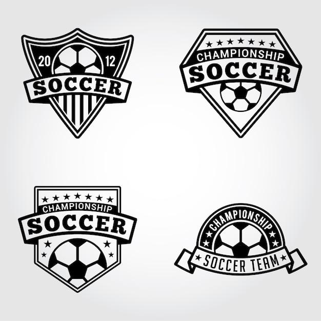 サッカーバッジとロゴ Premiumベクター