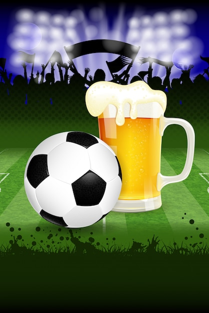 Soccer ball and beer Premium Vector