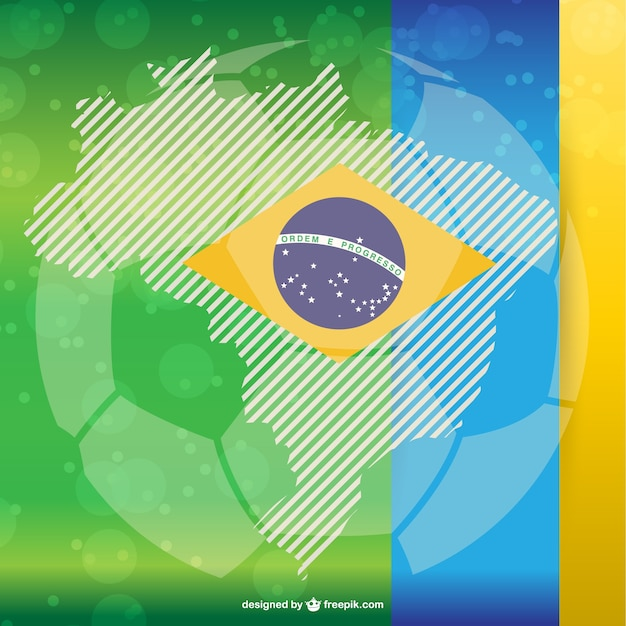Soccer ball and brazilian flag Free Vector