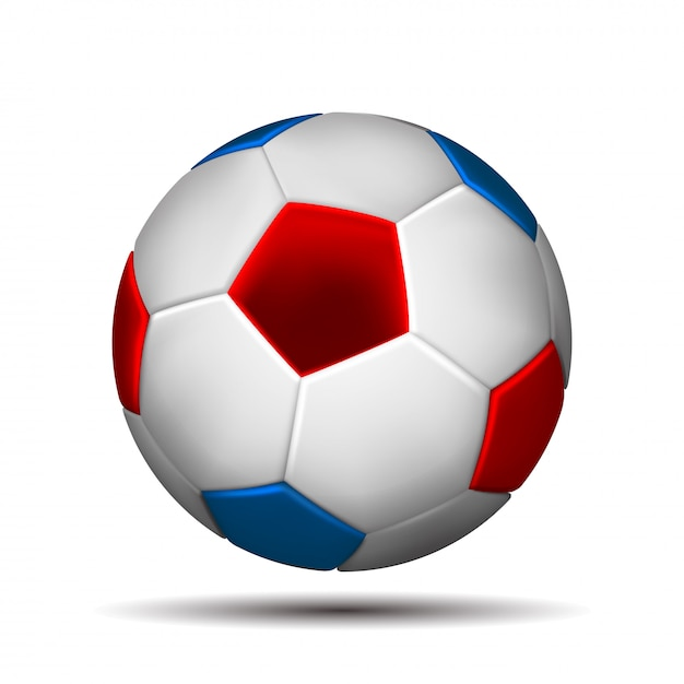 Soccer ball in color of russian flag  on white background.   illustration. Premium Vector