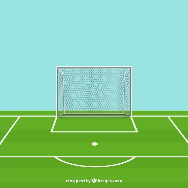 Soccer ball, field and goal Free Vector