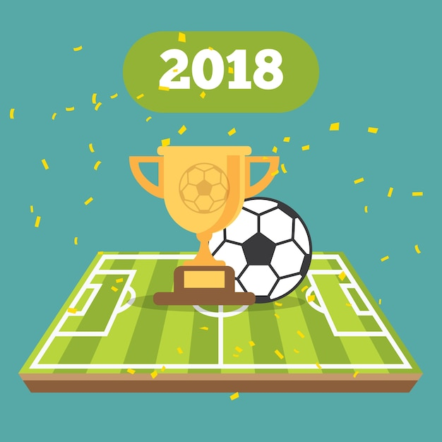 Soccer ball on the field of stadium with cup Premium Vector