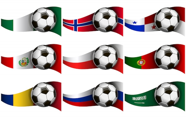 Soccer ball and flags Premium Vector