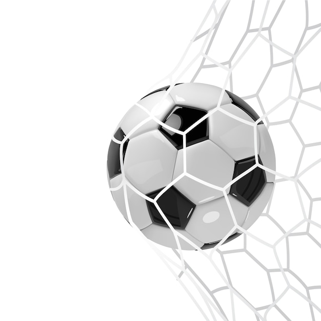 Soccer ball or football ball in net. Premium Vector