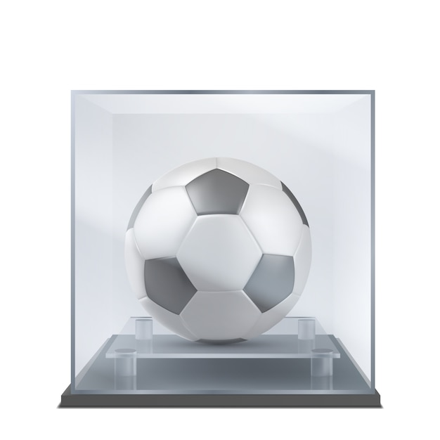 Soccer ball under glass case realistic vector Free Vector