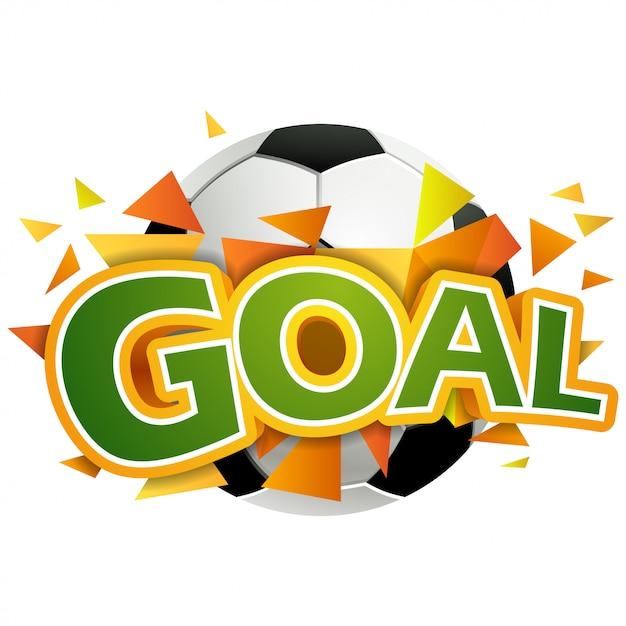 Soccer ball in goal. vector Premium Vector