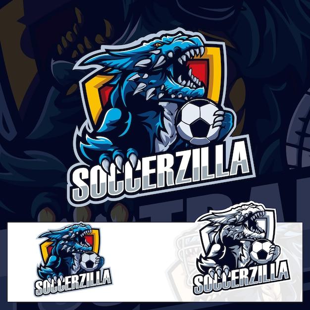サッカーボールゴジラスポーツロゴ Premiumベクター
