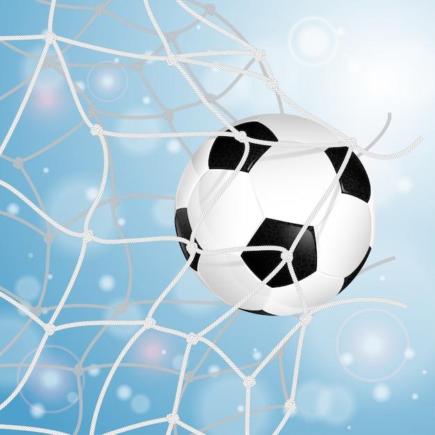 Soccer ball in net Premium Vector