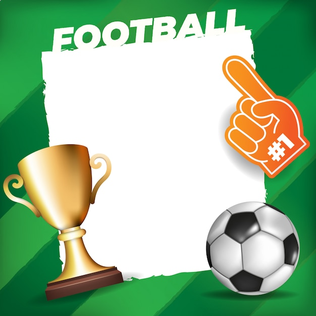 Soccer ball on a field background with white frame Vector | Premium ...