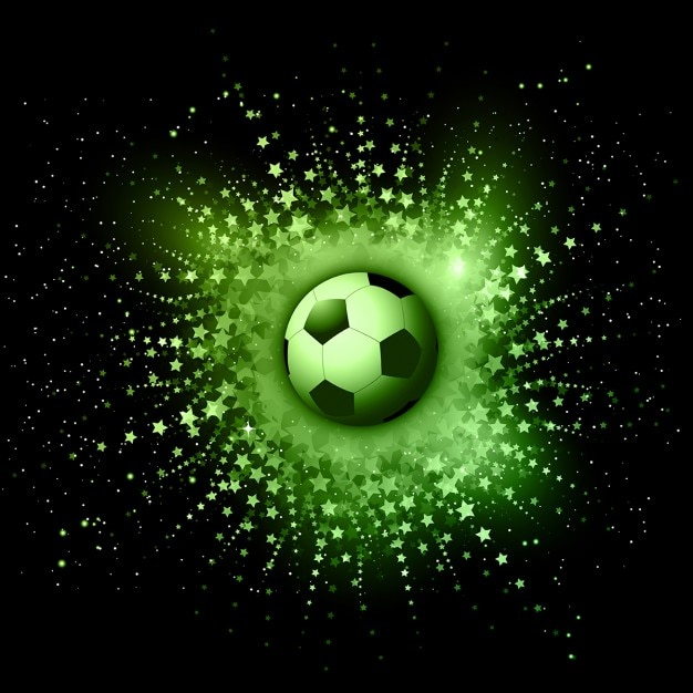 Soccer ball on an abstract star burst\ background