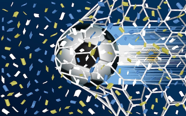 ネットを突破するサッカーボールまたはサッカー Premiumベクター