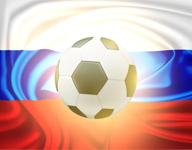 Soccer ball on russian satin flag background illustration Premium Vector