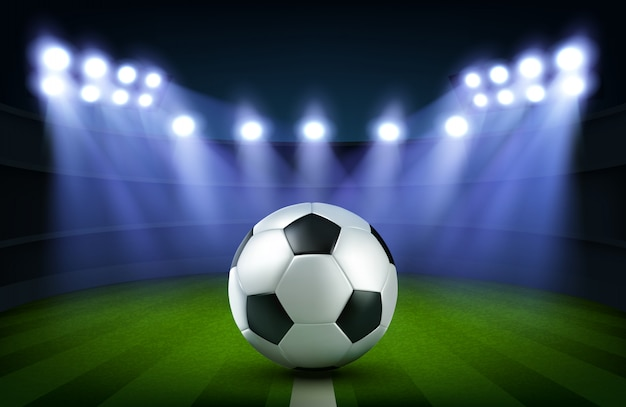 Soccer ball on stadium Free Vector