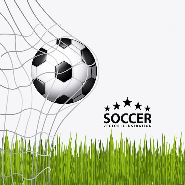 Soccer ball with grass Free Vector