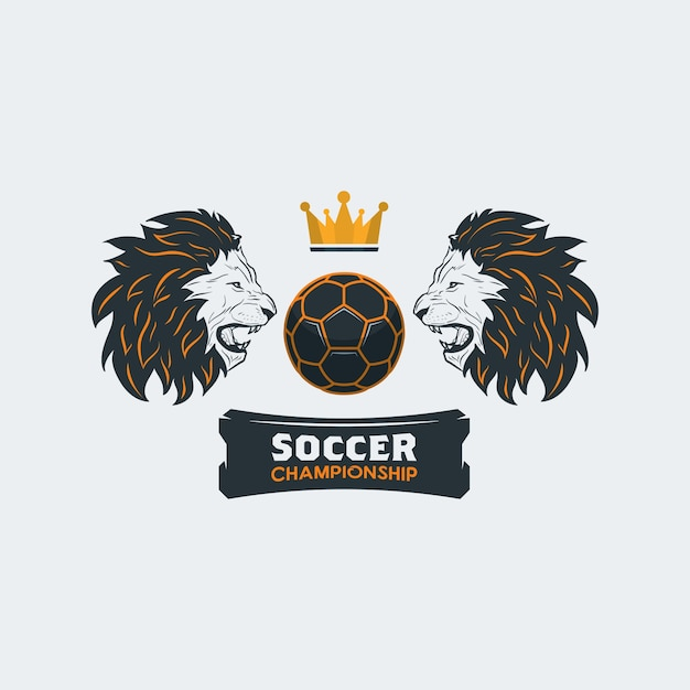 Soccer Ball With Lion Head And Crown