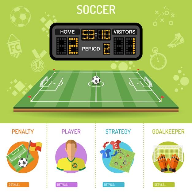 Футбольный баннер и инфографика Premium векторы