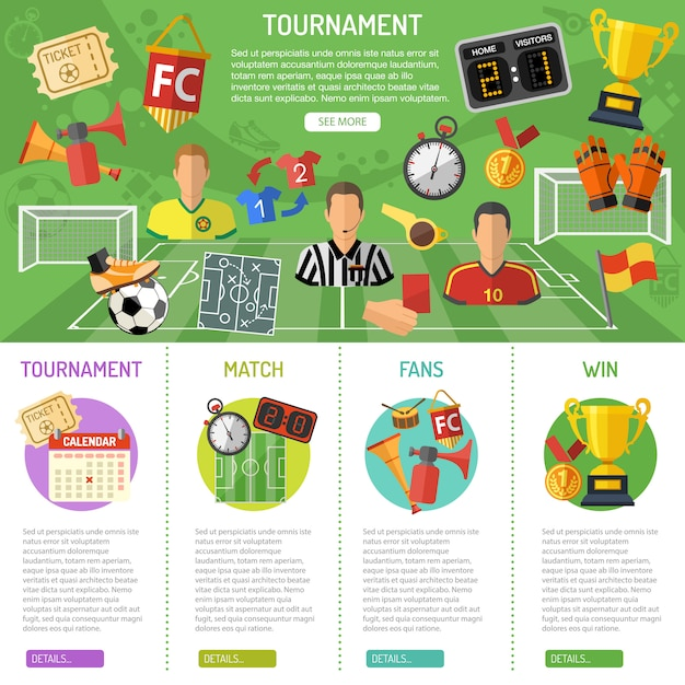 Soccer banner and infographics Premium Vector