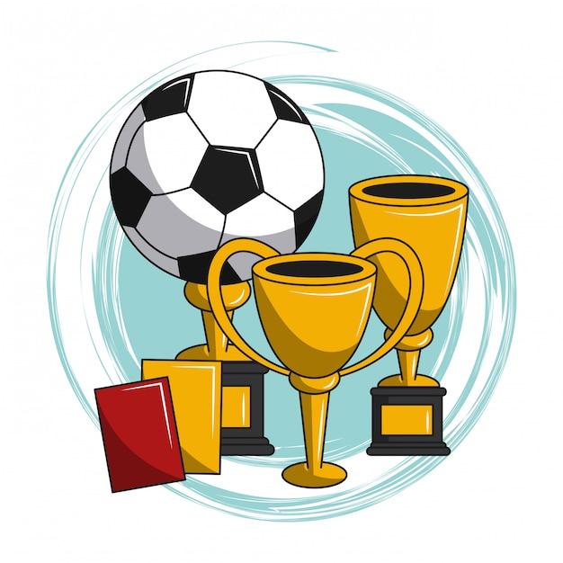 Soccer cartoon elements Premium Vector