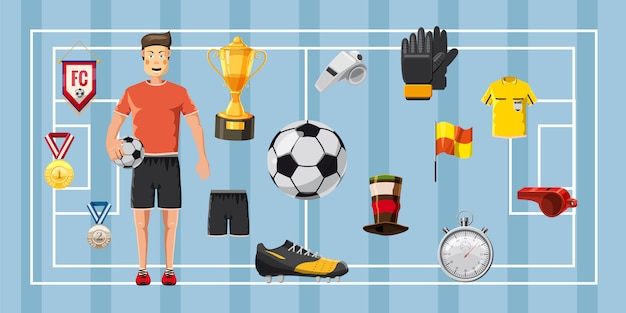 Soccer champion horizontal background Premium Vector