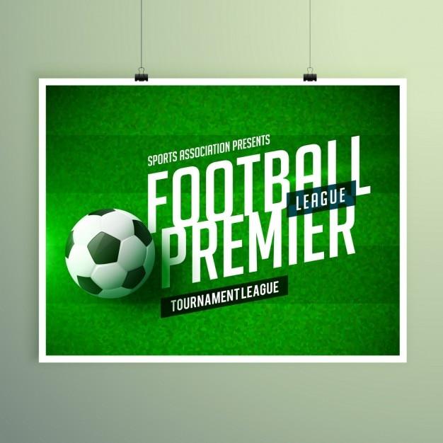 soccer championship presentation flyer free vector