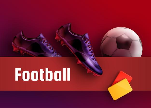 Футбольные бутсы фиолетовые бутсы с красными и желтыми карточками и мячом для фона футбольной рекламы. оборудование для рефери Premium векторы