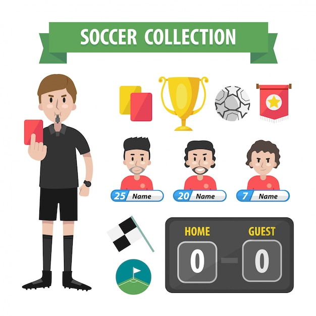 Soccer collection Premium Vector