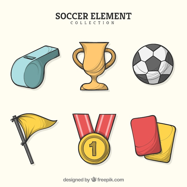 Soccer elements collection in hand drawn style Free Vector