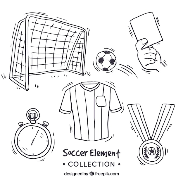 Soccer elements collection in hand drawn\ style