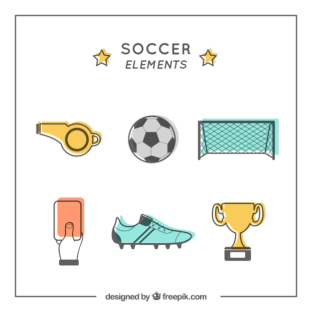 Soccer elements collection with equipment in flat style Free Vector