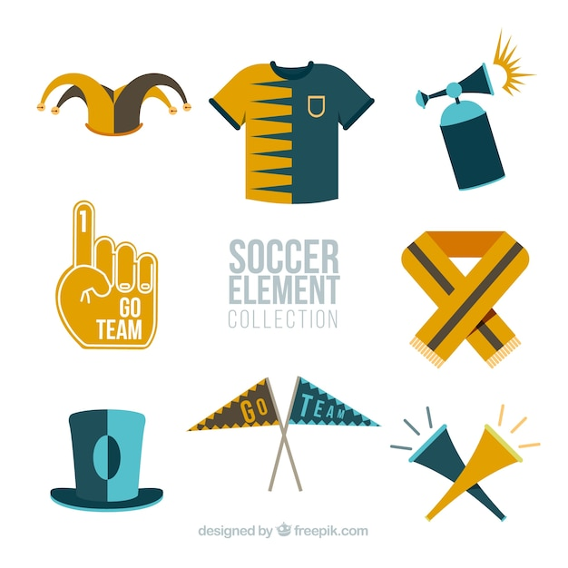 Soccer elements collection with equipment in\ flat style